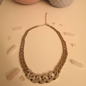 Jewelry - Encrusted gold toned curb chain fashion necklace